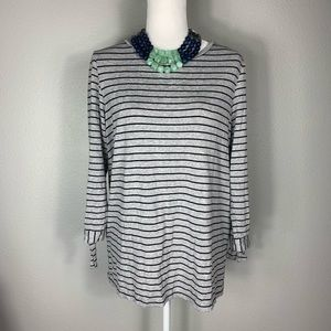 Liz Claiborne Petite Grey/Black Stripe Tunic Top